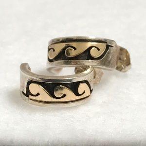 Jewelry - Navajo Sterling & 14K Gold Huggie Earrings